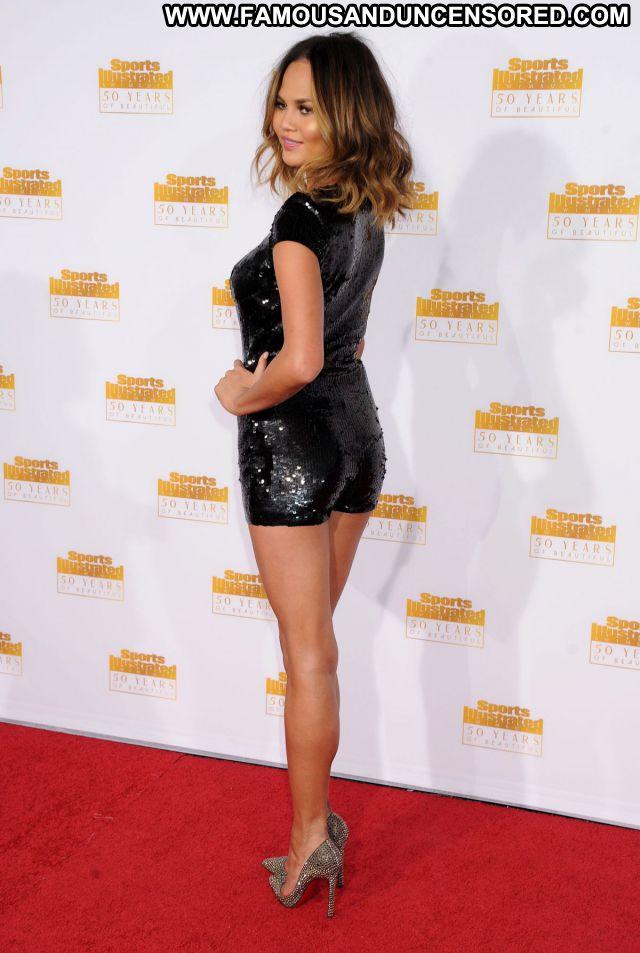 Chrissy Teigen No Source Sexy Dress Blonde Hot Celebrity Asian Posing