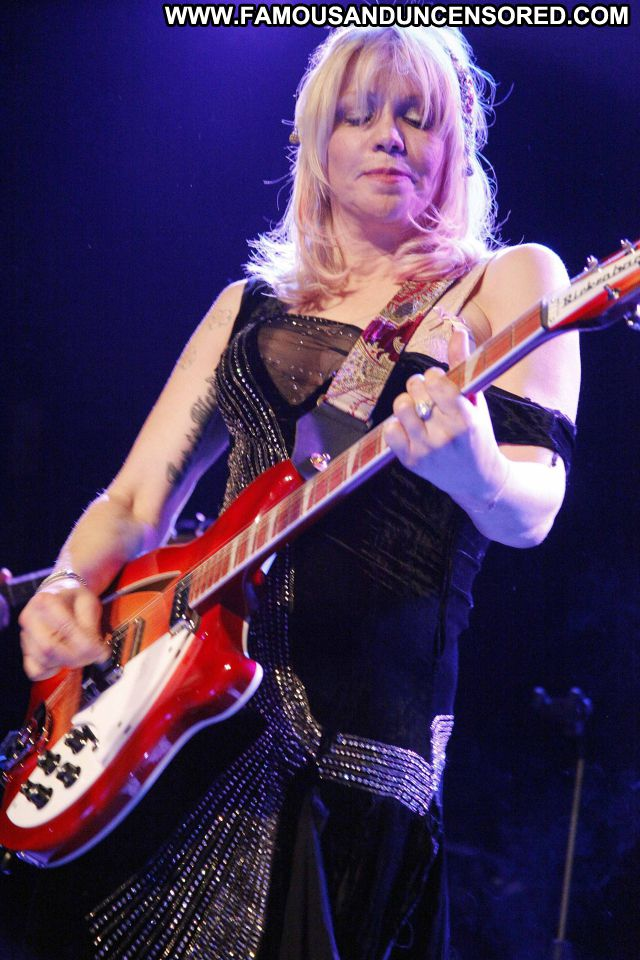 Courtney Love No Source  Showing Tits Celebrity Famous Blonde Guitar