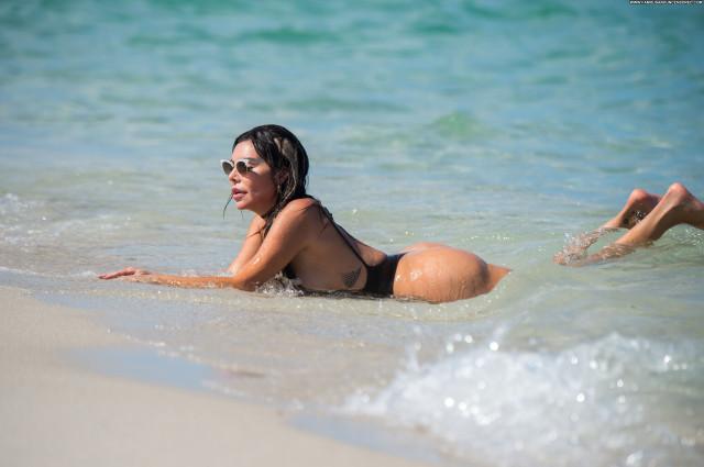 Liziane Gutierrez Miami Beach Swimsuit Fake Boobs Babe Thong Beach
