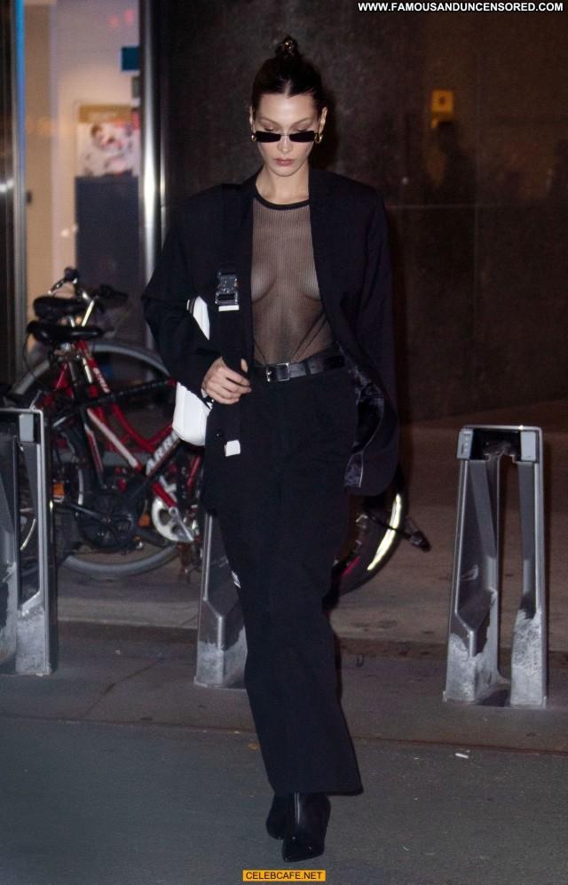 Bella Hadid No Source See Through Black Babe Celebrity Posing Hot