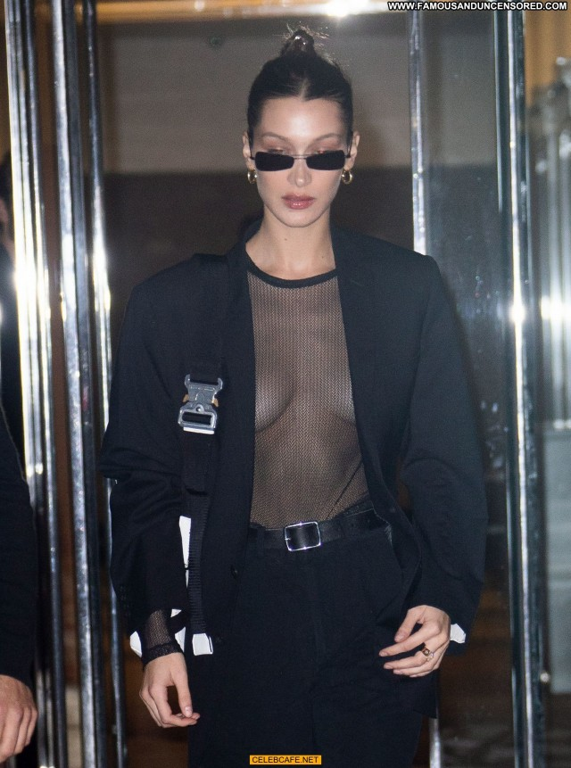 Bella Hadid No Source Babe See Through Black Beautiful Posing Hot